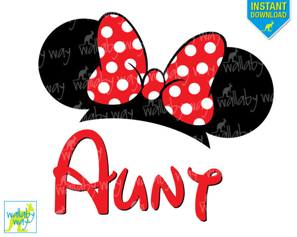 600x480 Minnie Ears Aunt Printable Iron On Transfer Or Use As Clip Art