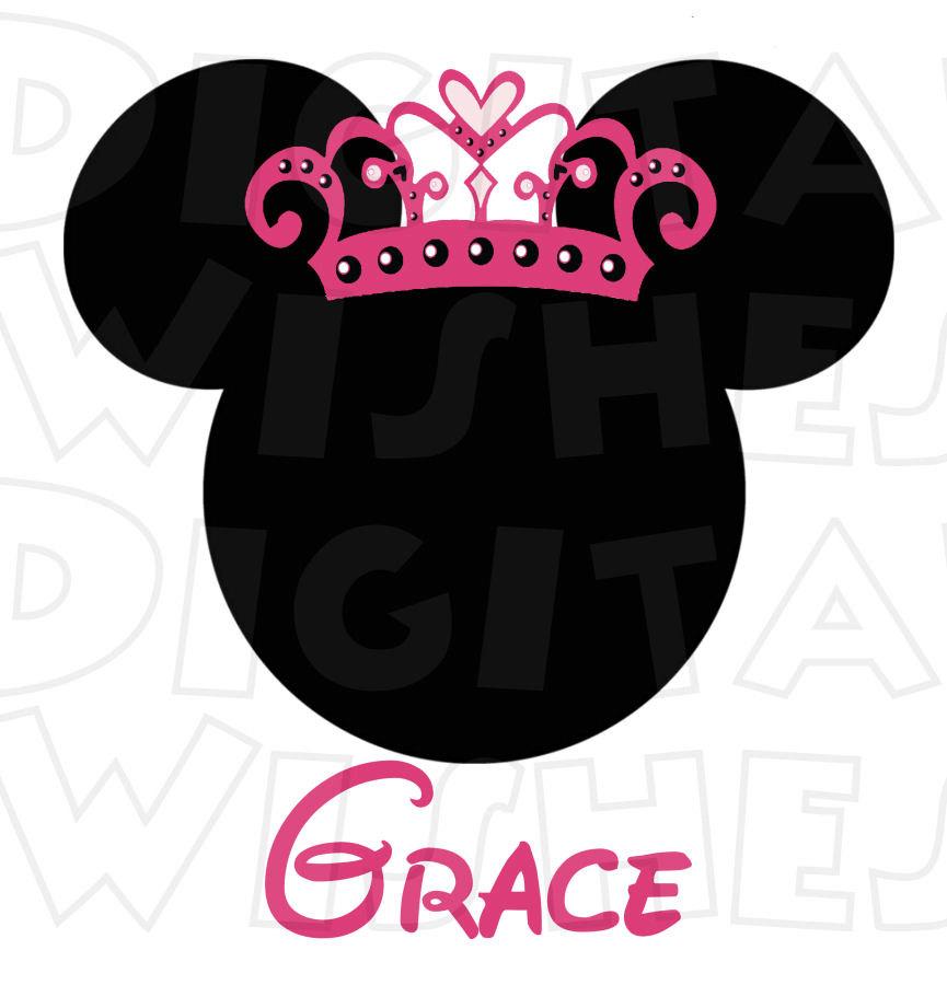 865x900 Princess Crown Minnie Mouse Digital Iron On Transfer Clip Art