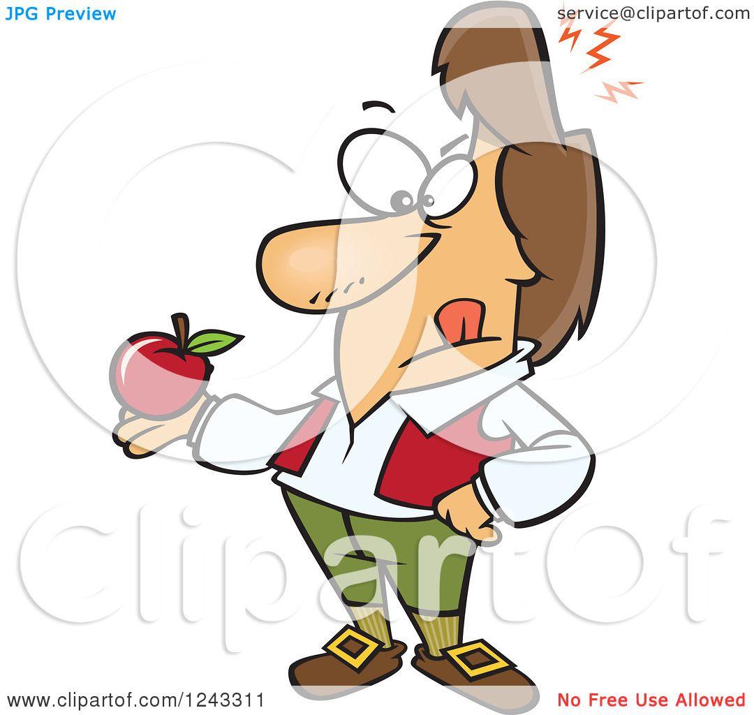 1080x1024 Clipart Of A Cartoon Isaac Newton Holding An Apple After Being Hit