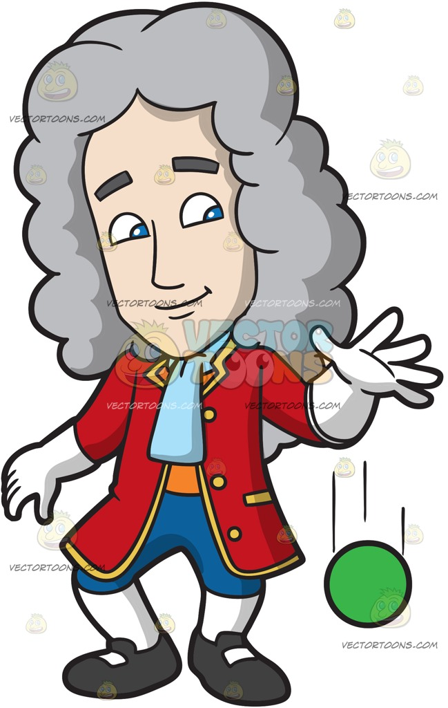 649x1024 Isaac Newton Dropping A Ball Cartoon Clipart Vector Toons
