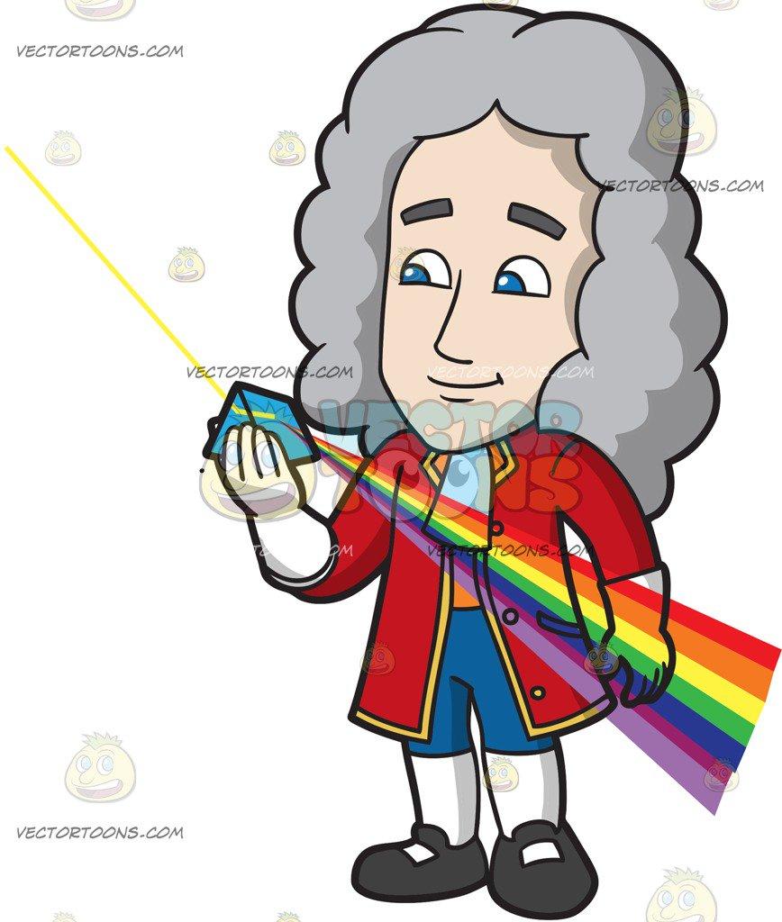 868x1024 Isaac Newton Looking Through A Color Prism Cartoon Clipart