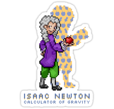 375x360 Isaac Newton Trainer Stickers By Tippetopphysics Redbubble