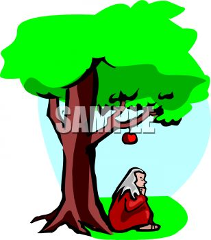 308x350 Royalty Free Clip Art Image Cartoon Of Isaac Newton Sitting Under