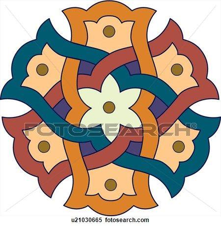 450x460 Green, Orange, Red And Purple Arabesque Design Clipart Clip Art