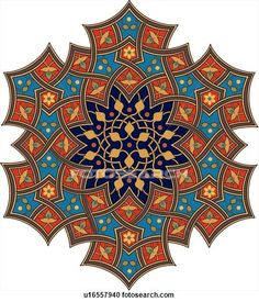 236x275 Red, Blue, Green And Black Square Arabesque Frame Clip Art Free