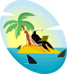 269x300 A Businessman On A Laptop On A Deserted Island Surrounded By