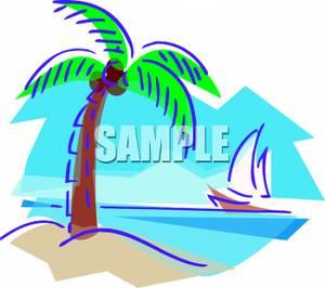 300x266 Clip Art Image A Sailboat Sailing By An Island