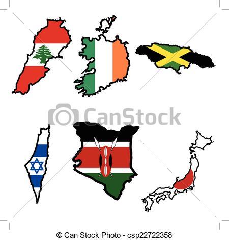 450x470 Map In Colors Of Ireland,israel,jamaica,japan,kenya,lebanon