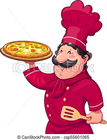 361x470 Cook With Pizza. Traditional Italian Food. Cartoon Clip Art