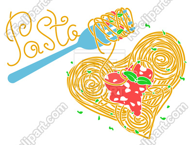 400x299 I Love Pasta Concept, Italian Cuisine Royalty Free Vector Clip Art