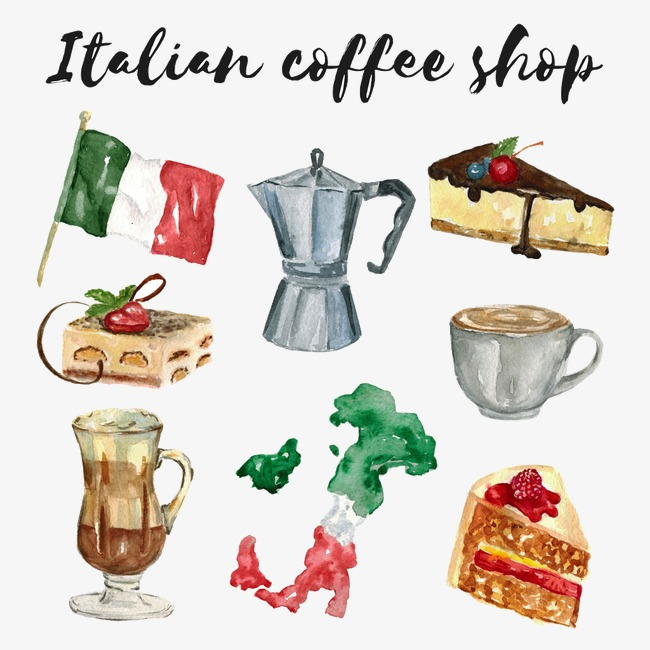 650x650 Italian Food, Drink, Coffee, Watercolor Png Image And Clipart