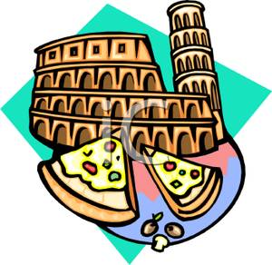 300x292 Clip Art Image Italian Monuments And Two Slices Of Pizza