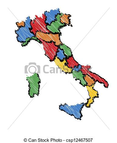 385x470 Kids Italy Map. Sketch Vector Map Of Italy In Cold Colors Stock