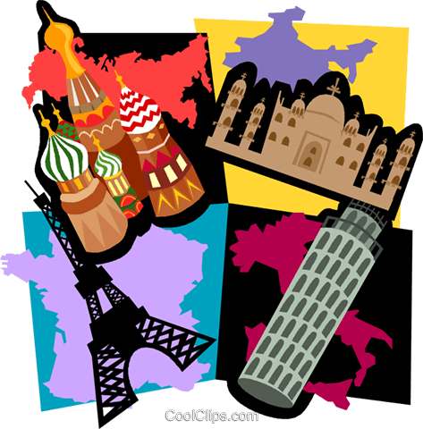 473x480 Travel Motif, Paris, Italy, Moscow Royalty Free Vector Clip Art