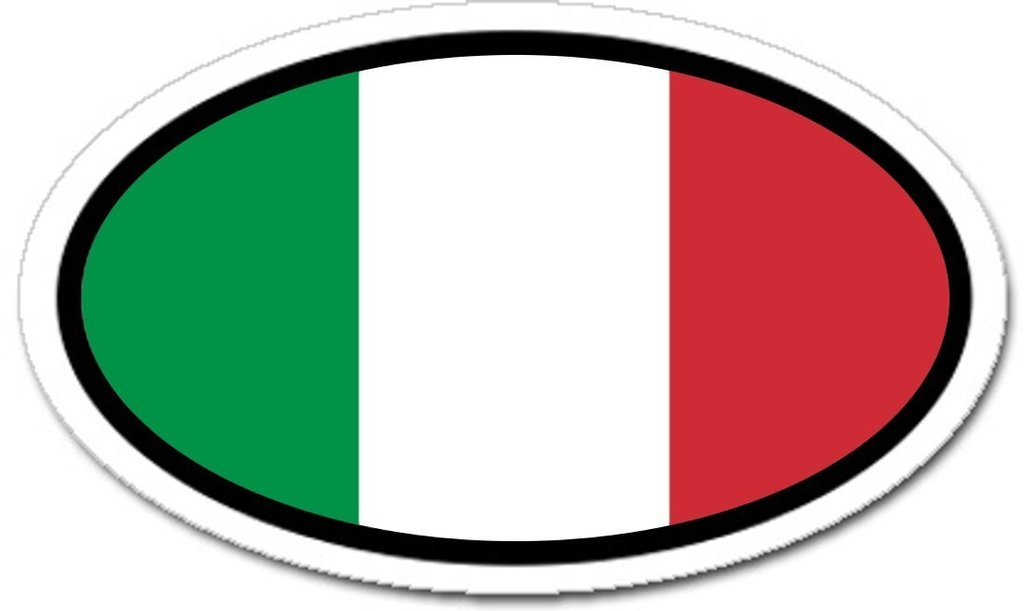 1024x611 Italian Flag Car Bumper Vinyl Sticker Oval Lands Amp People