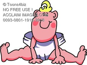 300x224 Cartoon Baby Boy Wearing Diapers Royalty Free (Rf) Clip Art Picture