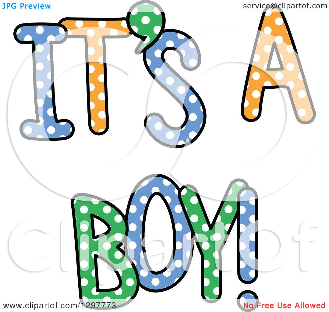 1080x1024 Clipart Of Colorful Polka Dot Its A Boy Text