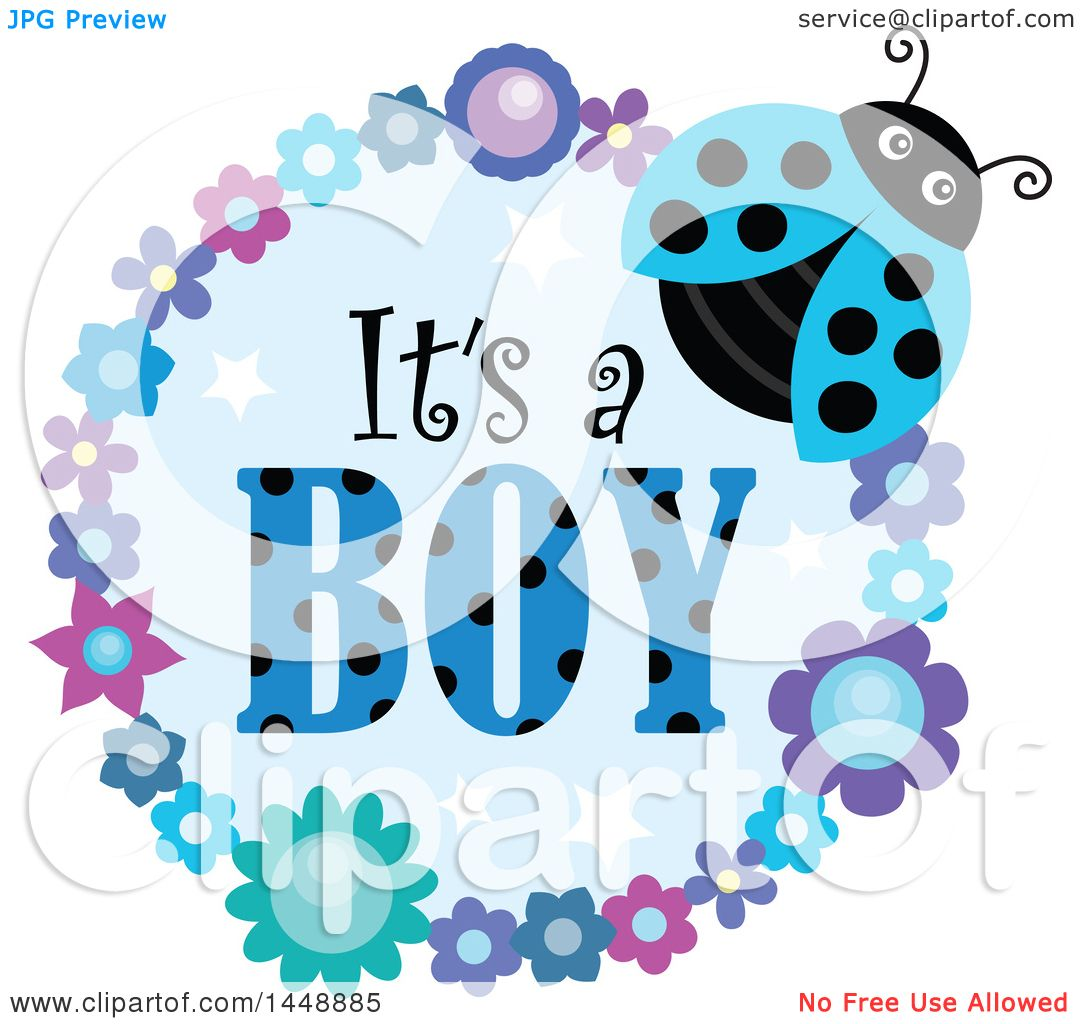 1080x1024 Clipart Of A Blue Ladybug And Flower Frame With Its A Boy Text