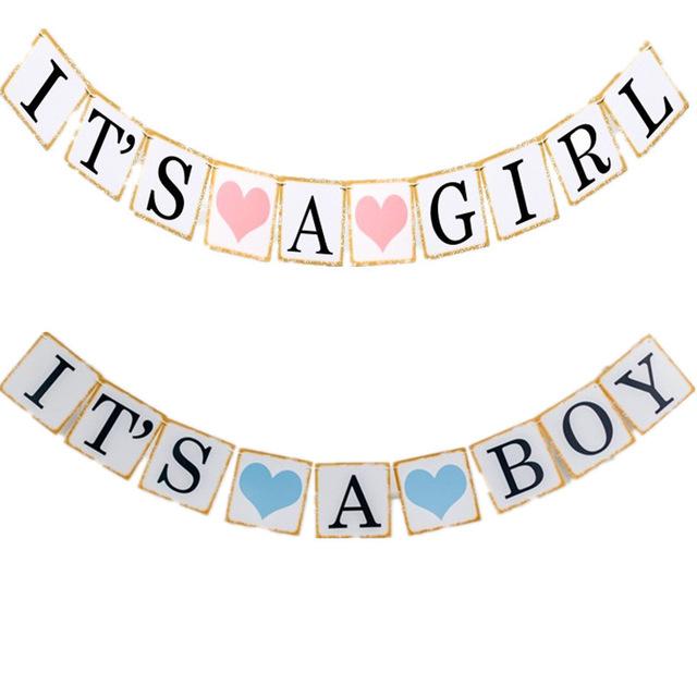 640x640 Iridescent Paper Photo Props Girl Boy Baby Shower Banner Its A Boy