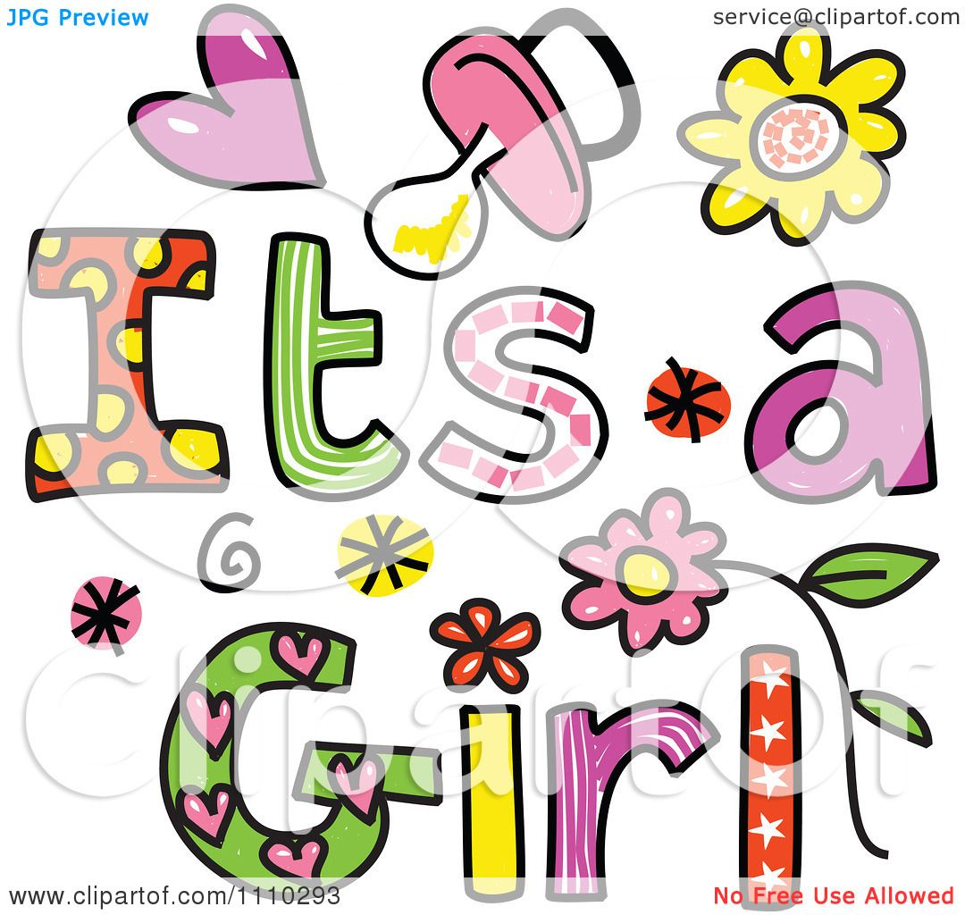 1080x1024 Clipart Colorful Sketched Its A Girl Text