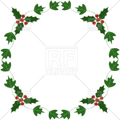 400x400 Holly And Ivy Yule Round Frame Royalty Free Vector Clip Art Image