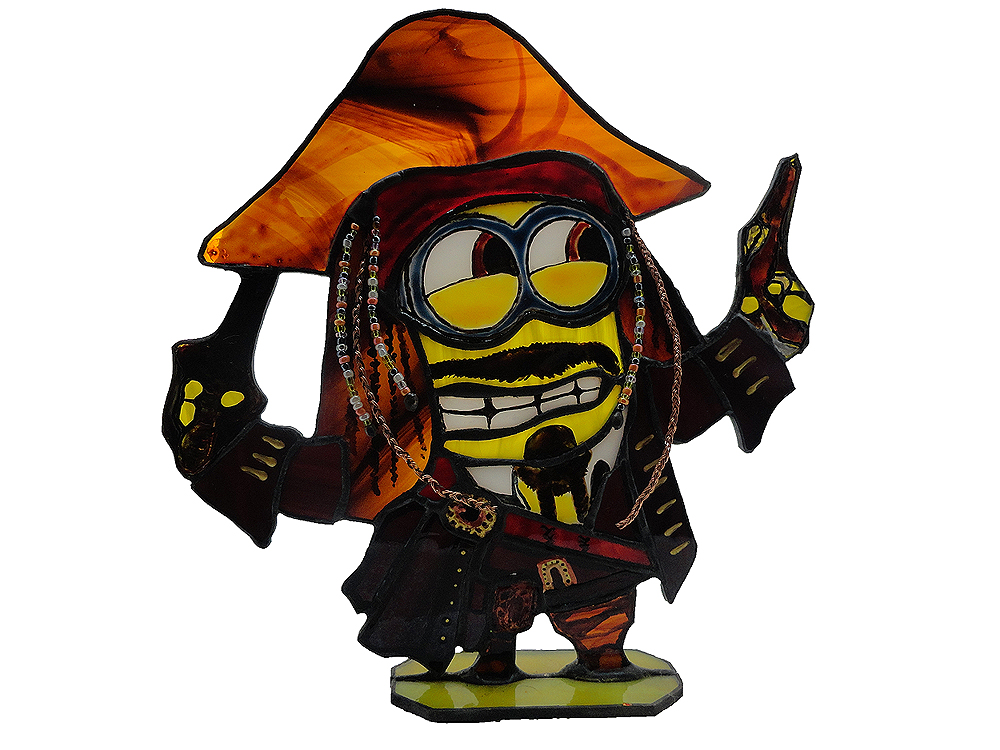 1000x750 Stained Glass Stand Minion Captain Jack Sparrow By Art Brother