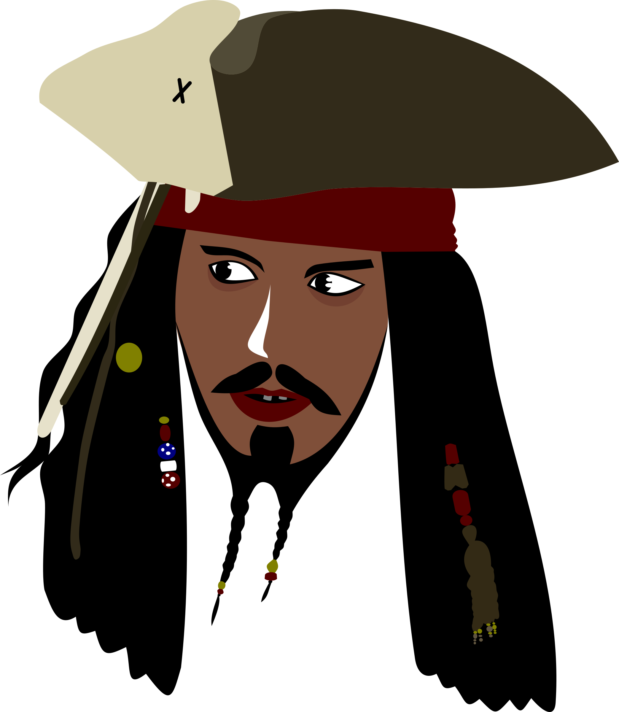 2087x2400 Captain Jack Sparrow Vector Clipart Image