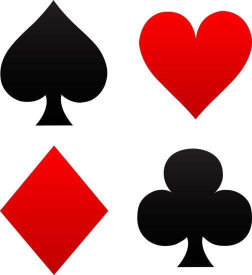 504x550 Free Clip Art Of Red And Black Playing Card Suits