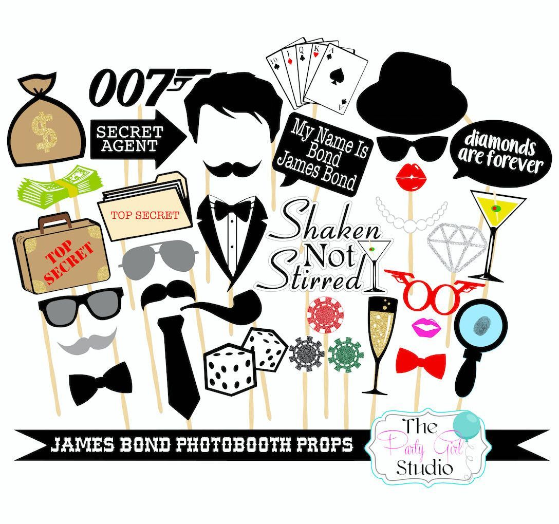 1088x1020 35pc 007 Inspired Photobooth James Bond Photobooth Props