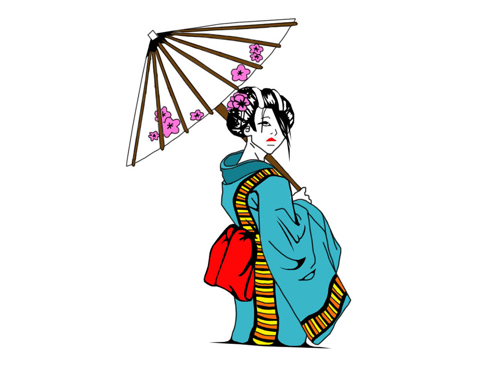 1024x768 Geisha Clipart Japanese