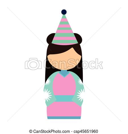 450x470 Girl Faceless Japan Clothes Traditional Vector Illustration