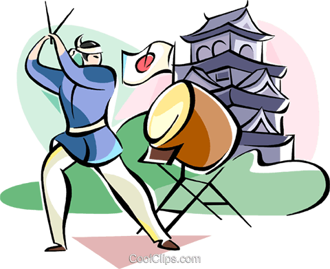 480x391 Japanese Drummer Musician Royalty Free Vector Clip Art