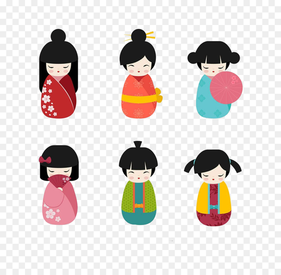 900x880 Japanese Dolls Kokeshi Clip Art