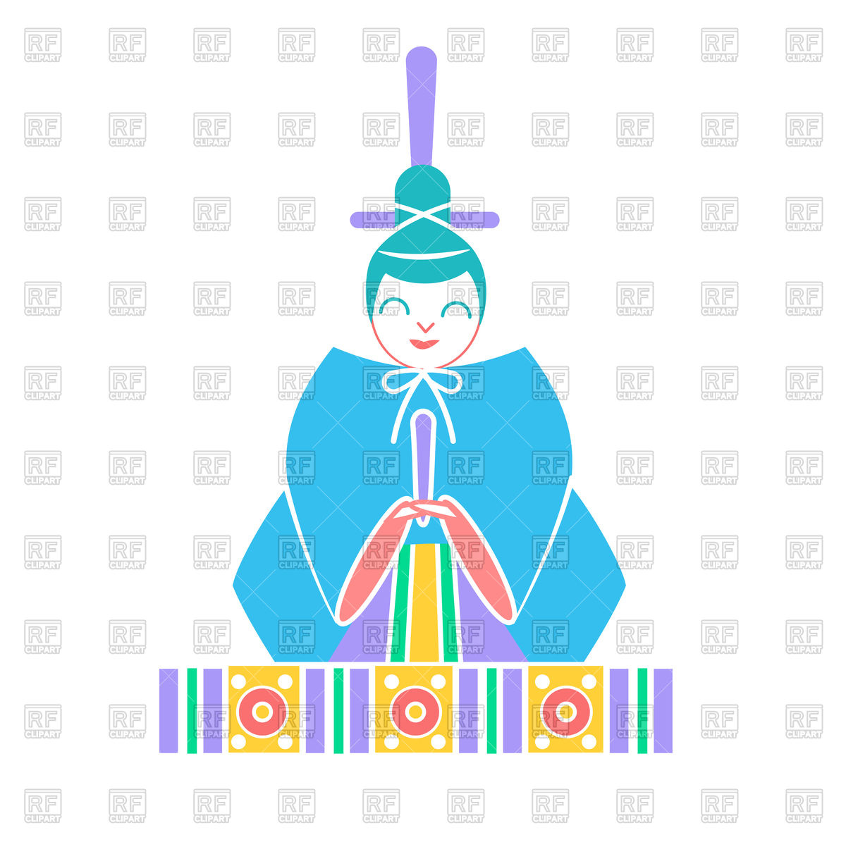 1200x1195 Japanese Emperor Doll Icon In Linear Style Royalty Free Vector