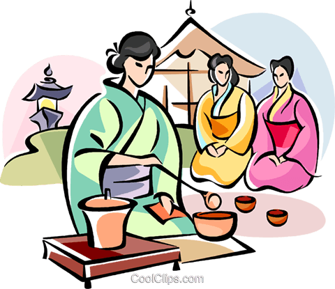 480x415 Japanese Girl Serving Tea Royalty Free Vector Clip Art