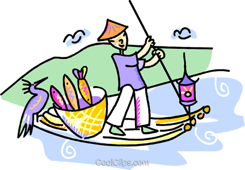 480x333 Japanese Man Paddling A Fishing Boat Royalty Free Vector Clip Art