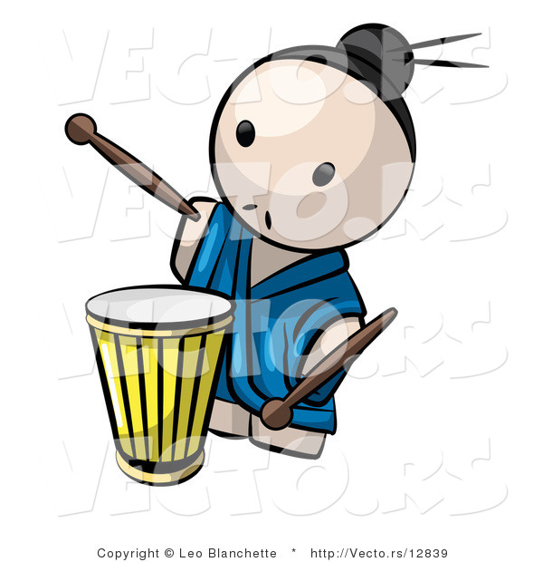 600x620 Vector Of Cartoon Japanese Guy Playing Drum By Leo Blanchette