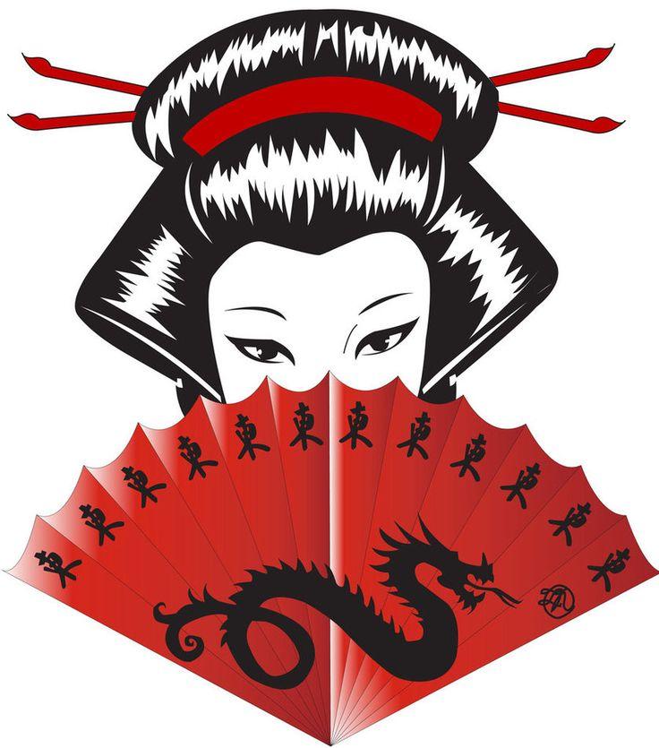 736x835 Japanese Geisha Fan Drawing