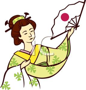 287x300 Clipart Picture A Geisha Holding A Japanese Fan