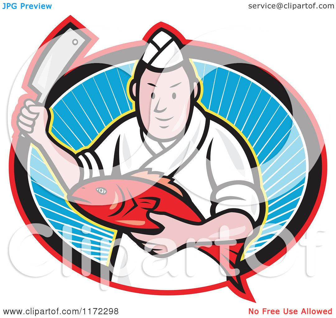 1080x1024 Clipart Of A Japanese Fishmonger Or Chef Holding A Fish And Knife