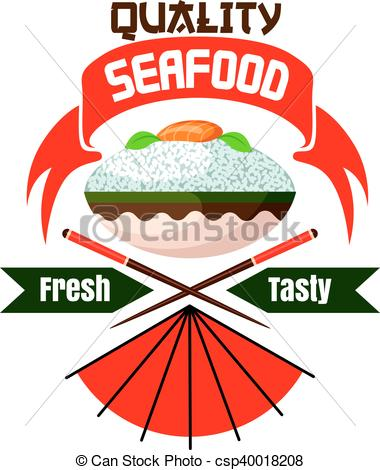 380x470 Fresh And Tasty Japanese Seafood Restaurant Icon. Fresh And Tasty