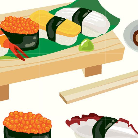 570x570 Japanese Sushi Digital Vector Clip Art Japan Food Digital Clipart