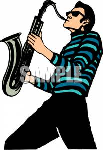206x300 Jazz Player Clipart
