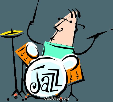 480x434 Cool Jazz Drummer Royalty Free Vector Clip Art Illustration