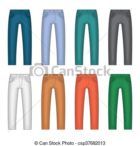 450x470 Denim Jeans Different Colors Set. Vector Illustration Vector Clip