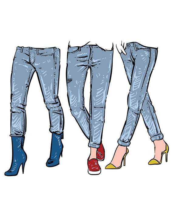 570x713 Drawing Women's Fashionable Jeans. Clipart Commercial Use, Vector