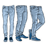 160x160 Fashionable Skinny Denim Jeans Outline, Vector Illustration, Clip