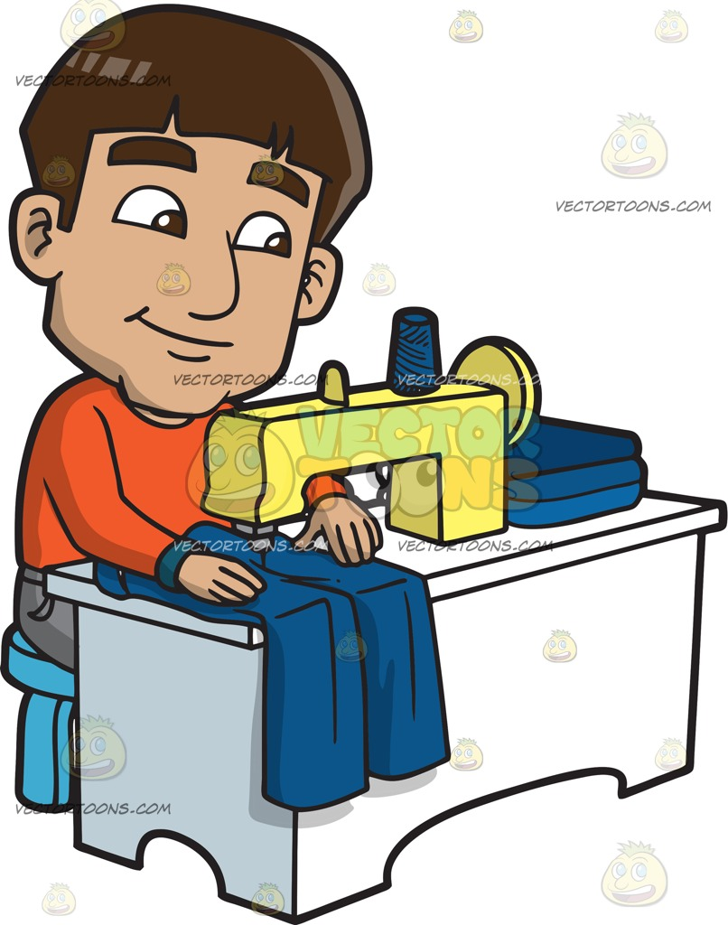 806x1024 A Man Sewing A Pair Of Blue Jeans Cartoon Clipart Vector Toons