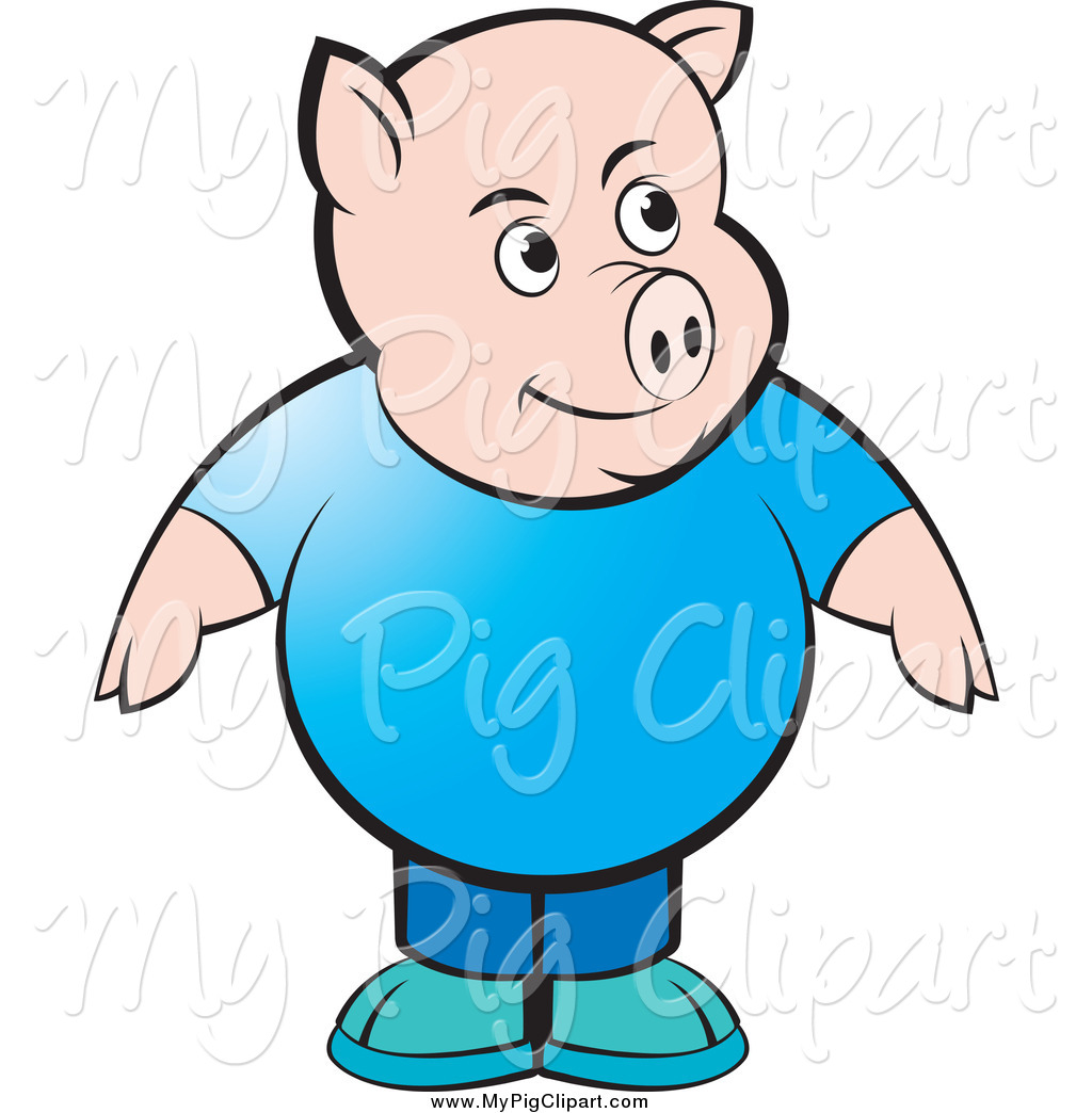 1024x1044 Swine Clipart Of A Chubby Pig In A Blue Shirt And Jeans By Lal