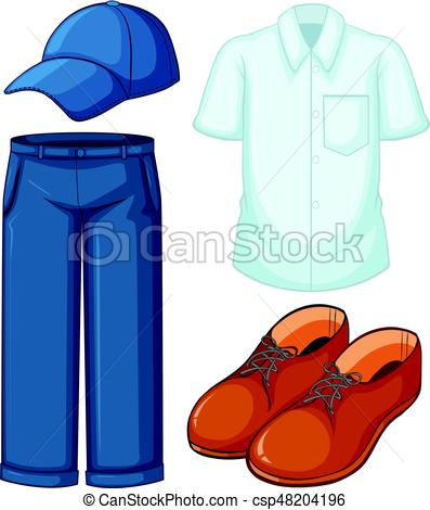 397x470 White Shirt And Blue Jeans Illustration Eps Vectors